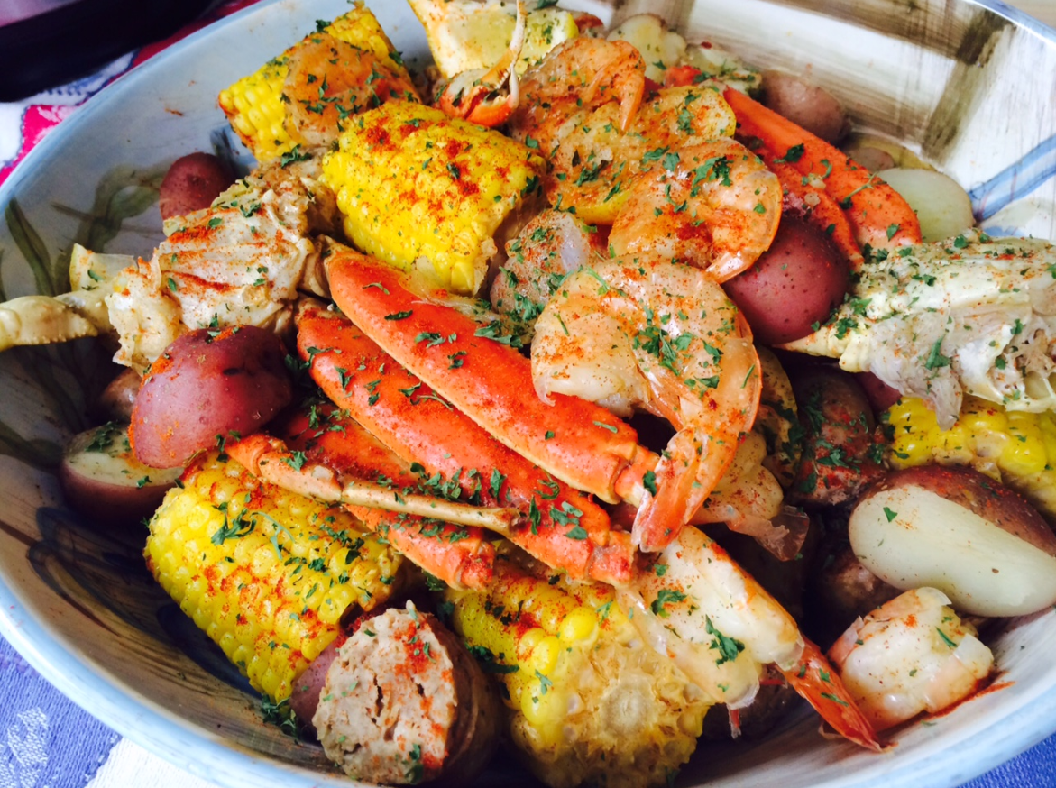 Seafood Boil – Jumbo Shrimp, Crab Legs, Sweet Sausage, Corn on the ...