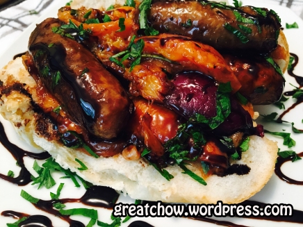 Great Chows Grilled Sausage Peaches and Onions Sandwich